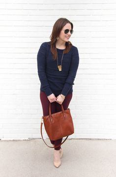 Houston Fashion Blogger Karen Rock of Lady in Violet styles a winter work outfit idea with a dark blue sweater and maroon pants with nude heels.