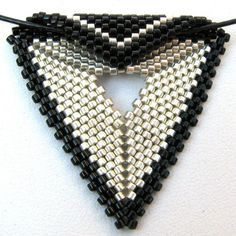 Elegant Silver and Black Peyote Triangle Choker