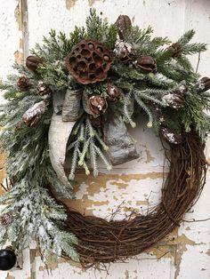 Winter Wreath Rustic Wreath Chrstmas Rustic Wreath Front