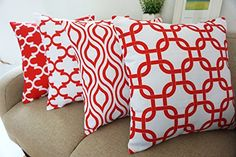 Howarmer Canvas Cotton Square Throw Pillows of Red Arrow ...