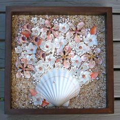 Peaches and Cream Seashell Flowers Shadow Box by Shellestial