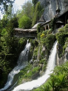 Waterfall Walkway  St. Beatus Caves, In Switzerland.