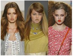 Bronzed make-up and beachy hair in pic on left