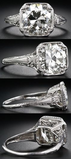 Lo e this style!! Not this big, and obviously not this ring considering the historical ramifications... Lol 3.26 carat antique diamond engagement ring. Late Edwardian or early Art Deco. Via Diamonds in the Library.