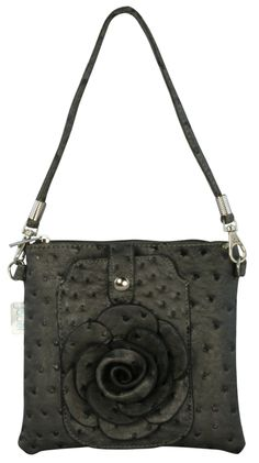 Designer Inspired Faux Grey Ostrich Leather Rosette Clutch Cross Body Hand Bag
