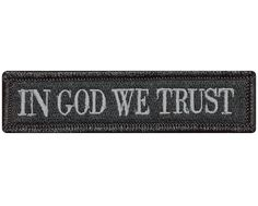 """V77 Tactical in god we trust patch Subdued Grey 1""""x3.75"""" Velcro hook *Made in USA*"""