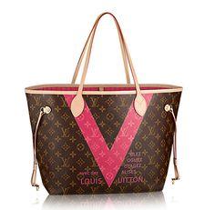 Louis-Vuitton-Monogram-V-Neverfull-MM-Pink-Bag