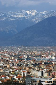 Aerial view of Shkoder, Albania. Shkoder is one of the oldest and most historic places in Albania, as well as an important cultural and economic center.