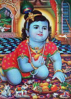 the Best worker! Bal Krishna, Krishna Art, Krishna Images, Little Krishna, Cute Krishna, Vintage Calendar, Fish Wallpaper, Krishna Wallpaper, Print Calendar
