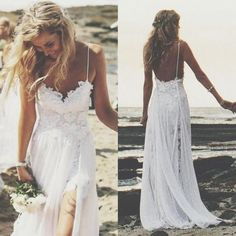Wholesale Beach Wedding Dresses - Buy 2015 Sexy Backless Lace Beach Vintage Bohemian Wedding Dresses A Line Halter Split Side Chiffon Hollie Boho Bridal Gowns, $115.6 | DHgate.com