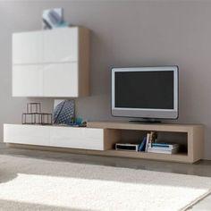 Mueble de televisión Mistral de diseño actual con 2 cajones y hueco asimétrico, realizado en madera de roble.
