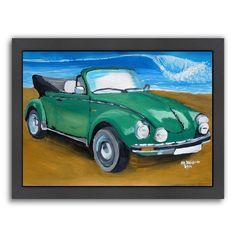 "Americanflat ""Green Bug At Beach"" Framed Wall Art, Multicolor"