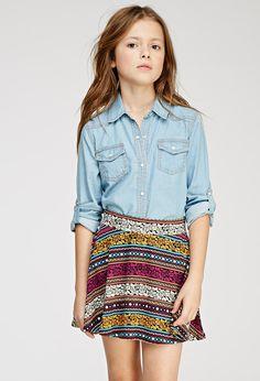 Floral-Striped Skater Skirt (Kids)   Forever 21 girls   #f21kids