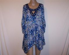 AVENUE Sz 14/16 Shirt Top Asymmetrical Embellished Stretch Ruched 3/4 Sleeve NEW #Avenue #KnitTop #Career