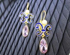 Fleur de Lis & Amethyst Earrings Enamel, Vintage, Sterling w. Gold Wash Cloisonne, Marquise Faceted Gems, Early 1990s. by TampicoJewelry on Etsy
