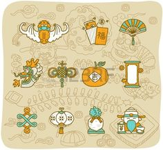 hand drawn Chinese New Year Icons  Stock Vector