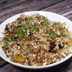 Arroz Arabe (Arroz Navideño) Arroz Biro Biro, Rice Recipes, Cooking Recipes, Queso Feta, Christmas Dinner Menu, Arabian Food, Peruvian Recipes, Lebanese Recipes, Rice Dishes