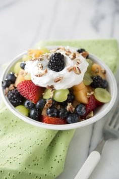 Fruit Salad with Cream Cheese-Pecan Topping on PaulaDeen.com