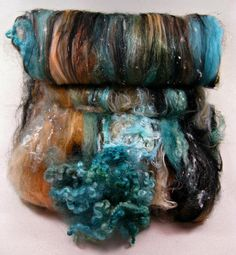 Turquoise Sunset Wild Card Bling Batt for spinning by yarnwench