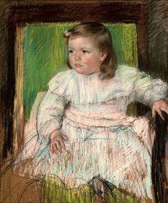 The Pink Sash (Ellen Mary Cassatt), 1898,  Pastel on paper, 61x 50.1cm, Woodmere Art Museum, Philadelphia, PA. Impressionist. Mary Cassat (1844-1926).