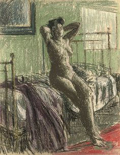 Walter Sickert (British, 1860-1942), Nude Stretching: La Coiffure, 1905-06. Pastel, 71 x 55 cm.