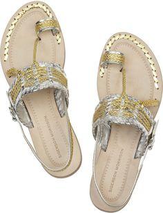 4c09a546329514 ... Fringe 2Buckle Strap Flat Thong Sandal leather textile ivory multi sz7.5  129.95 3 16