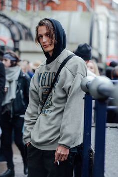 http://chicerman.com  billy-george:  Hooded  Spotted at London Collection Mens  Photo by Dan Roberts  #streetstyleformen