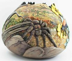 incredible tarantula carved gourd