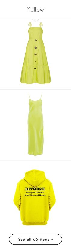"""Yellow"" by simoneannalivia ❤ liked on Polyvore featuring dresses, chartreuse, midi dress, thin dress, midi day dresses, yellow dress, frill hem midi dress, green, polka dot dress and slip on dress"