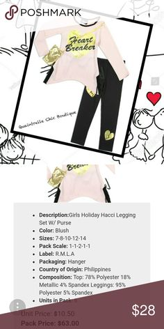 🆕HEARTBREAKER 3 PIECE SET Adorable haaci legging set with purse featuring side lace up, tie in back and metallic broken hearts. Top 78% Polyester 28% Metallic 4% Spandex Bottoms 95% Polyester 5% Spandex  ✔️ Bundle and save Quaintrelle Chic Boutique Matching Sets