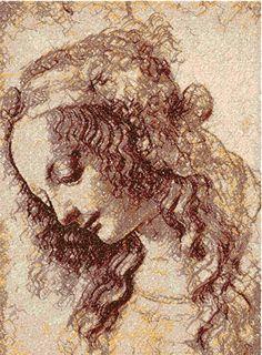 Leonardo da Vinci woman photo stitch free embroidery design - Machine embroidery forum