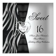 Sweet 16 Sixteen Birthday Party Zebra Black Silver Invites