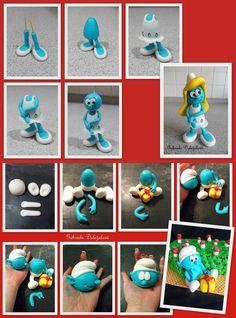 Billedresultat for smurfs sugarpaste Polymer Clay Dolls, Polymer Clay Crafts, Polymer Clay Creations, Diy Clay, Fondant Figures, Clay Figures, Cake Templates, Fondant Animals, Fondant Tutorial
