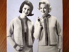CHANEL JACKETS Knitting Pattern - Beehive 1960s Vintage, DK / Worsted Wool Jackie O Cardigans, Cropped Short, Sweater Clip Style, sz 34 - 40