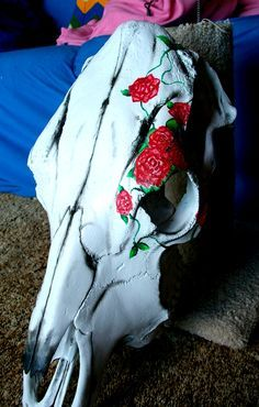 cow skull painted with cowboy boots - Google Search
