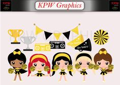 Yellow and Black Cheerleader Clip-art Set in a PNG format. Personal & Small Commercial use