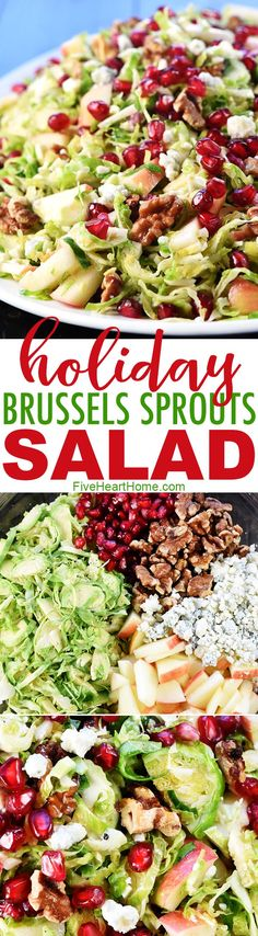 Holiday Brussels Sprouts Salad ~ loaded with fresh shaved Brussels sprouts, crisp apple, tangy-sweet pomegranate, toasty walnuts, and zippy blue cheese for a fresh, healthy, gorgeous salad that's perfect for any meal! | FiveHeartHome.com via @fivehearthome