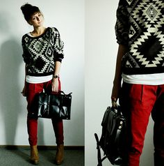This Aztec sweater is awesome! Looks good w the red pants! Into The Fire, Red Jeans, Look At You, Red Sweaters, Chunky Sweaters, Sweater Fashion, Swagg, Style Me, Wild Style