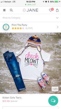 Girls Tees, Shirts With Sayings, Kitten, Prints, Shopping, Fashion, Cute Kittens, Moda, Kitty