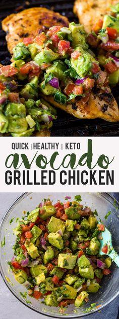Grilled Chicken with Avocado Salsa (Keto) - avocado Chicken Grilled Keto Sa. - Alles - Grilled Chicken with Avocado Salsa (Keto) – Low Carb Avocado, Grilled Avocado, Fresh Avocado, Shrimp Avocado, Grilling Recipes, Diet Recipes, Cooking Recipes, Recipes Dinner, Dessert Recipes