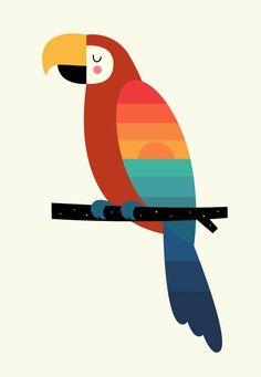 Sunset Parrot on Behance Bird Drawings, Animal Drawings, Art And Illustration, Cute Animal Illustration, Parrot Drawing, Motif Jungle, Art Mignon, Geometric Art, Bird Art
