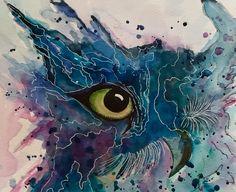 Eule - Original - abstrakt - Aquarell - fineart von abstrakte bilder und mehr von maria-mercedes auf DaWanda.com