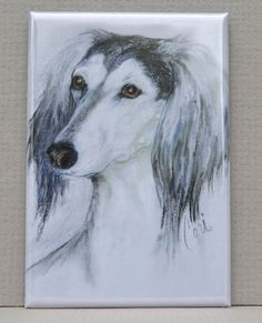 Fantasy's Favorite Saluki Art Magnet by Cori Solomon