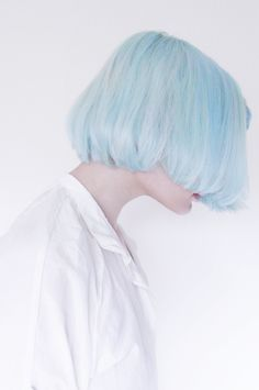 pastel blue bob