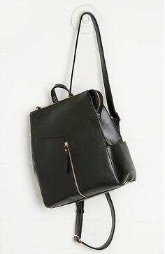 Julie Brown Vegan Leather Zip Backpack in Black   DAILYLOOK #pursetodiefor #veganpurse