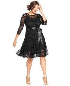 MSK Plus Size Illusion Floral Lace Dress