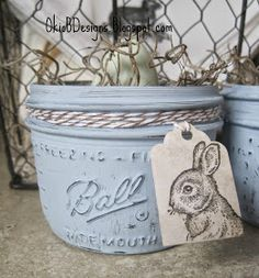 Chalk Painted Mason Jars for Easter - Okio B Designs