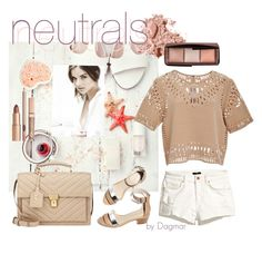 """""""neutrals summer"""" by lethinka on Polyvore featuring Yves Saint Laurent, Loeffler Randall, H&M, Bobbi Brown Cosmetics, Sea, New York and Hourglass Cosmetics"""