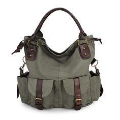 Women Casual Canvas Drawstring Handbags Multi Pocket Shoulder Bags Crossbody Bags