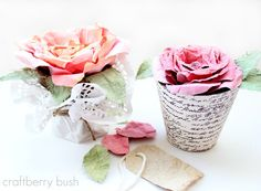 Craftberry Bush: Love blooms...faux Mulberry watercolor paper rose tutorial